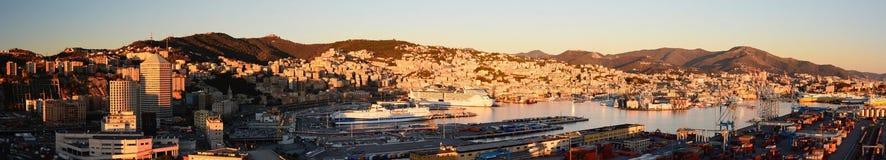 Panorama från fyren av Genua Genova Liguria italy arkivfoton