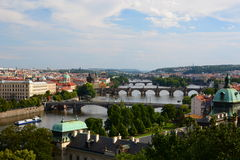 Panorama från Letnà ¡ parkerar ( Letenske Sady) Prague för republiktown för cesky tjeckisk krumlov medeltida gammal sikt Arkivbilder