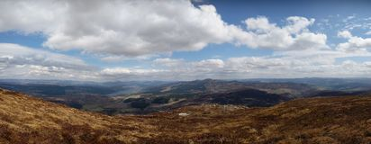 Panorama från Schiehallion, Skottland royaltyfri fotografi