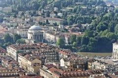 Panorama från vågbrytaren Antonelliana, Turin, Italien Fotografering för Bildbyråer