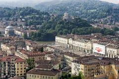 Panorama från vågbrytaren Antonelliana, Turin, Italien Arkivfoton