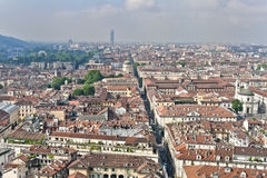 Panorama från vågbrytaren Antonelliana, Turin, Italien Royaltyfri Fotografi