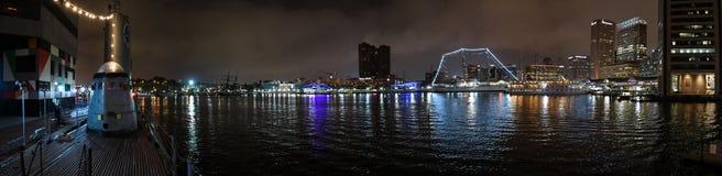 Panorama för Baltimore inre hamnnattetid Fotografering för Bildbyråer