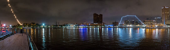 Panorama för Baltimore inre hamnnattetid Royaltyfri Foto