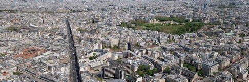 Panorama för flyg- sikt för Paris cityscape Arkivbild