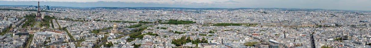 Panorama för flyg- sikt för Paris cityscape Arkivfoto