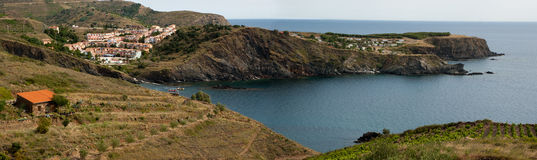 Panorama of Frace Mediterranean coast line Royalty Free Stock Photos