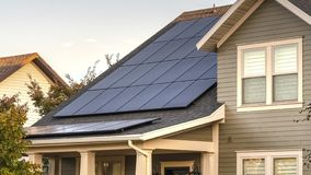 Free Panorama Frame Solar Photovoltaic Panels On A House Roof Royalty Free Stock Image - 163991506