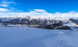 Panorama francese delle alpi in Auron, Francia Fotografie Stock Libere da Diritti