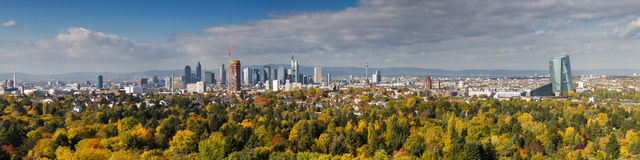 Panorama of Frankfurt as seen from viewpoint Goetheturm Stock Images