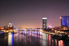 Panorama of Frankfurt city in night Stock Image