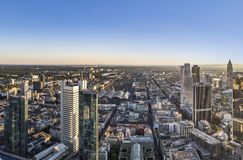 Panorama of Frankfurt am Main with skyscrapers Stock Photos