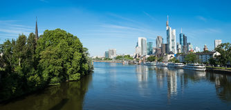 Panorama of Frankfurt in the morning light Stock Image