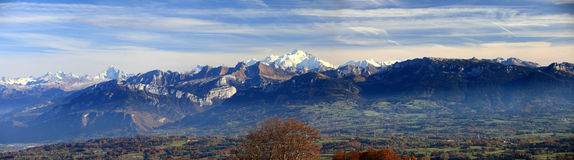 Panorama an Franzosen Alpes-Herbst lizenzfreie stockfotografie