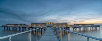 Panorama freddo dello stabilmento balneare di Helsingborgs Fotografia Stock Libera da Diritti