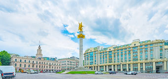 Panorama of Freedom Square in Tbilisi Royalty Free Stock Image