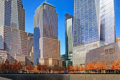 Panorama of the Freedom Tower and reflecting pools, New York Royalty Free Stock Photography