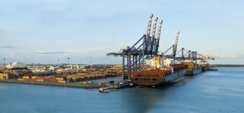 Panorama of freeport, bahamas. Large panorama of loading docks at freeport, bahamas stock photos
