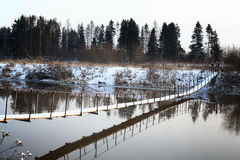 Panorama freezing river Royalty Free Stock Photo