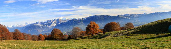 Panorama at French Alpes autumn royalty free stock image