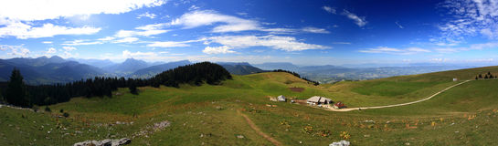 Panorama at French Alpes summer Stock Photography