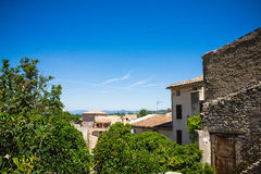 Panorama of french city with trees and roofs Royalty Free Stock Images