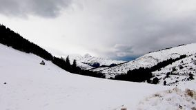 Panorama of french pyrenees mountains with Pic du Midi de Bigorre in background