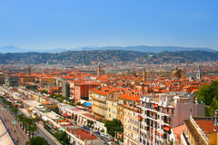 Panorama of French riviera in city of Nice. Cityscape of Luxury resort of French riviera. Beautiful panorama city of Nice in France. Sunny, summer day on Royalty Free Stock Image