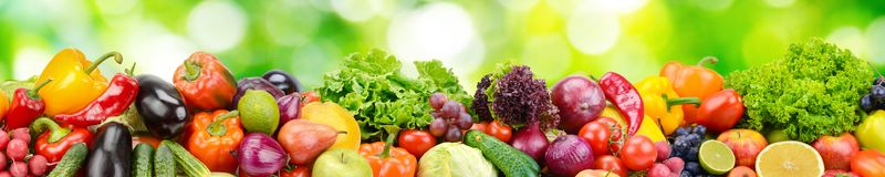 Panorama of fresh vegetables and fruits on blurred background of. Panorama of fresh vegetables and fruits on natural blurred background of green leaves Stock Images