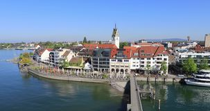 Panorama of Friedrichshafen, Germany stock footage