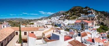 The hillside village of Frigiliana. A Panoramic view of trhe hillside village of Frigiliana in Anadalucia, Spain royalty free stock photography