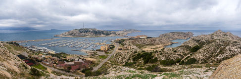 Panorama of Frioul archipelago in Mediterranean sea Stock Photo