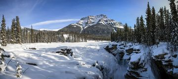 Panorama on frosty and snowy Athabasca Falls, Jasper, Alberta, Canada. Athabasca Falls is a waterfall in Jasper National Park on the upper Athabasca River royalty free stock photo