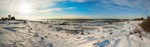 Panorama of frozen fjord Kurefjorden in winter, Norway Stock Images