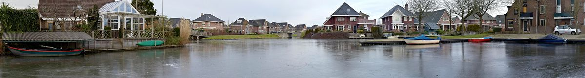 Panorama frozen lake in the suburbs of Enkhuizen stock images