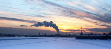 Panorama of the frozen Neva Stock Photos