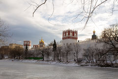 Panorama of a frozen pond near the ancient walls of the Novodevichy convent. Moscow. Russia. Royalty Free Stock Image