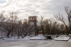 Panorama of a frozen pond near the ancient walls of the Novodevichy convent. Moscow. Russia. Royalty Free Stock Photos