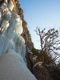 Panorama frozen waterfall at sunset Royalty Free Stock Images
