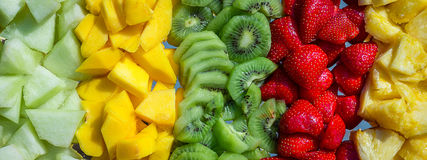 Panorama on a fruit composition Stock Photo