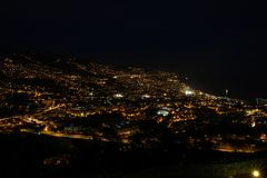 Pico dos Barcelos by Night, Funchal, Madeira Stock Image