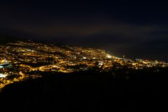 Pico dos Barcelos by Night, Funchal, Madeira Royalty Free Stock Photography