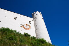 Panorama of Fussen Castle in Germany stock photography