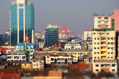 Panorama futurista da vista aérea de desenvolver a cidade de Yangon myanmar Imagens de Stock Royalty Free