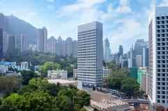 Panorama of futuristic city Hong Kong Stock Photos