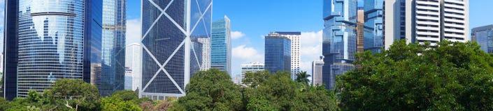 Panorama of futuristic city Hong Kong. High angle view royalty free stock images