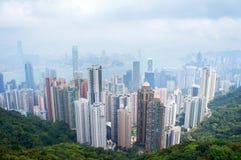 Panorama futurystyczny miasto Hong Kong Obrazy Royalty Free