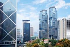 Panorama futurystyczny miasto Hong Kong Obrazy Stock