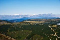 Panorama géant d'été de montagnes, République Tchèque, colline de Snezka Photo stock