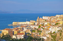 Panorama of Gaeta in the rays of the setting sun Royalty Free Stock Photo